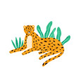 childish portrait relaxed leopard in vector image vector image