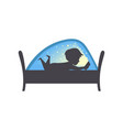 cute boy reading a book at nigh child reading a vector image vector image