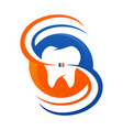 dental care icon with stylized tooth symbol vector image