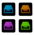 glowing neon drawer with documents icon isolated vector image vector image