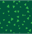 green christmas tree on a green background vector image vector image