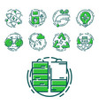 green ecology energy conservation icons and vector image vector image