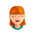 happy smiling redhead girl female emotional face vector image