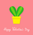 happy valentines day cactus heart icon in flower vector image vector image