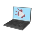 Laptop icon with megaphone on screen vector image vector image