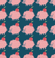 Lovely hedgehog carrying an apple Seamless pattern vector image vector image