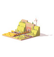 low poly railroad crossing vector image vector image