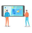 men study analytical data on smartphone screen vector image