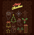 merry christmas objects neon lights vector image vector image