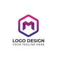 modern m with hexagon logo design templates vector image vector image