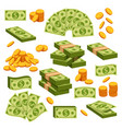 money paper and golden coins isolated design vector image