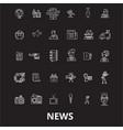 news editable line icons set on black vector image
