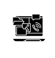 outsource work black icon sign on isolated vector image vector image