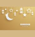 ramadan kareem greeting card paper art gold vector image