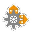 real estate gear symbol cut line vector image vector image