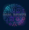 real estate round colored linear vector image
