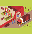 sawmill isometric background vector image vector image