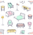 seamless pattern with various cozy furniture drawn vector image vector image