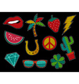 Set of sequin pop art summer patch icons vector image