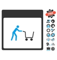 Shopping Cart Calendar Page Icon With Bonus vector image vector image