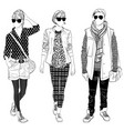 stylish male and female street fashion vector image vector image