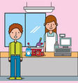 supermarket with customer and cashier near cash vector image vector image