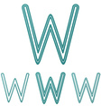 Teal line w logo design set vector image vector image