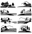 vintage countryside landscape with farm scene vector image vector image