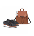 Vintage leather bag and shoes set vector image