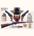 western gunslinger set vector image