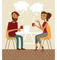 Young couple talking and drinking coffee vector image