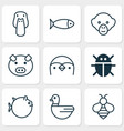 Zoology icons set collection of fish duck goose vector image