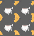 coffee and croissant seamless pattern template vector image