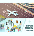 airport horizontal isometric banners vector image vector image