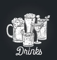 alcoholic drinks icon retro vector image