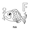 alphabet letter f coloring page fish vector image vector image