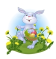 amusing rabbit with Easter eggs vector image