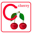 an alphabet with cute fruits letter c cherry vector image