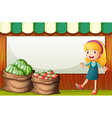 An empty template at the back of the girl selling vector image vector image