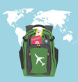 backpack with passport air ticket and credit card vector image vector image