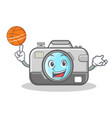 basketball photo camera character cartoon vector image