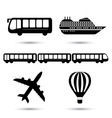 black transport icons vector image