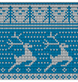 blue knitted background with deer vector image