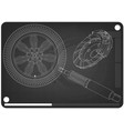 brake disc wheel and shock absorber on a black vector image vector image