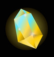 bright yellow crystal that shines with blue color vector image vector image