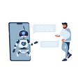 chatbot concept chat bot customer support vector image