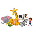 children with whild animals vector image