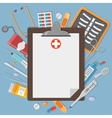Clipboard with medical elements vector image vector image