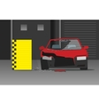 Crashed car on dark garage vector image