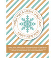 cute merry christmas greeting card with snowflake vector image vector image